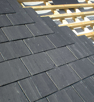 Part way through a slate roof in Wakefield